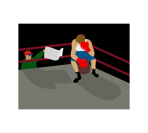 """Throwing in the towel"" (when a boxer loses a match, his coach throws a towel into the ring)"